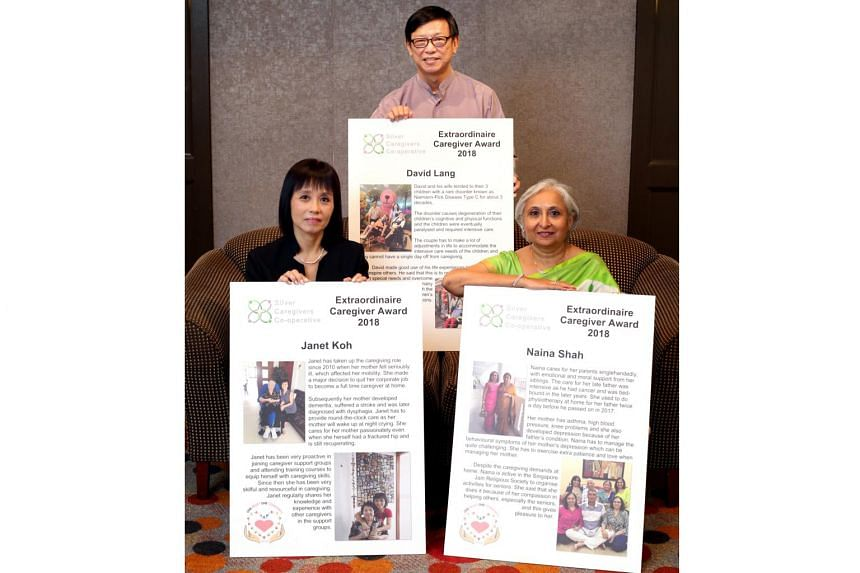 Mr David Lang, Ms Janet Koh and Ms Naina Shah were recognised with the Extraordinaire Caregiver Award given by Silver Caregivers Co-operative Limited at their Caregivers Celebration Dinner on March 15, 2018.