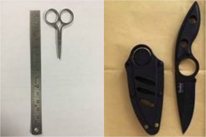 A pair of scissors (left) was seized from the first incident and a black dagger in the second incident.