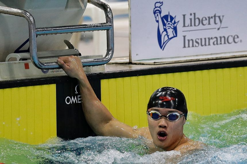 Teong Tzen Wei completing the Singapore National Age Group Swimming Championships Men's 50m butterfly super final at OCBC Aquatic Centre on March 15, 2018.