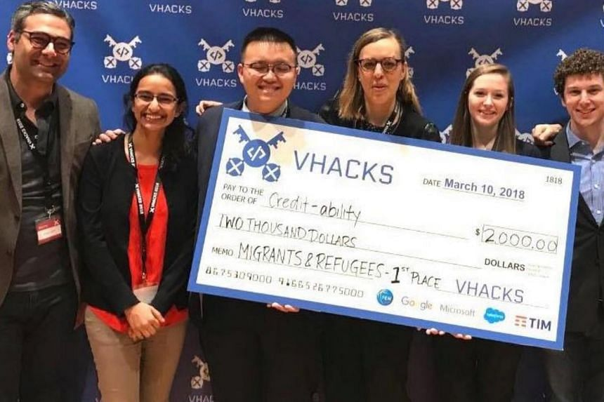 Singaporean Rushika Shekhar (second from left) and her four team mates created tools to help refugees with high scores obtain leases for long-term housing that landlords would otherwise be reluctant to grant.