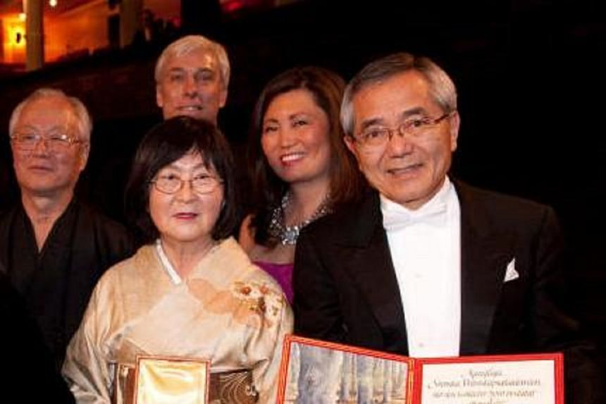 Nobel Prize winner Ei-ichi Negishi (right) was transported to a local hospital for treatment after he was spotted walking near Rockford, Illinois, at 5am on March 13, 2018. His wife, Sumire Negishi, was found dead nearby.
