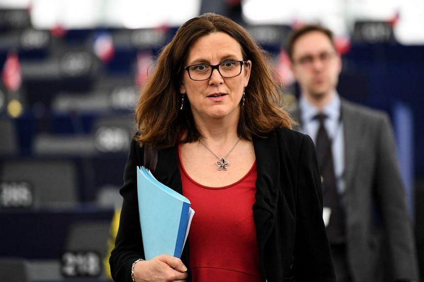 European Commissioner for Trade Cecilia Malmstrom attending a debate at the European Parliament.