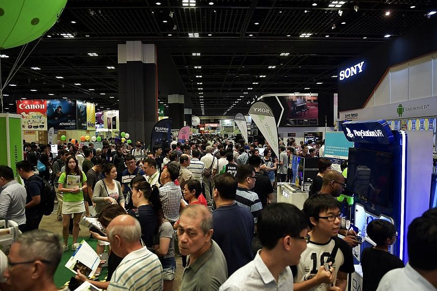 Those looking to buy new gadgets can get cash vouchers for these purchases by trading in their old gadgets - including video game consoles, televisions and cameras - at the annual IT Show, which is now into its 17th year. Mr Vadzim Tsitou, the Asia p