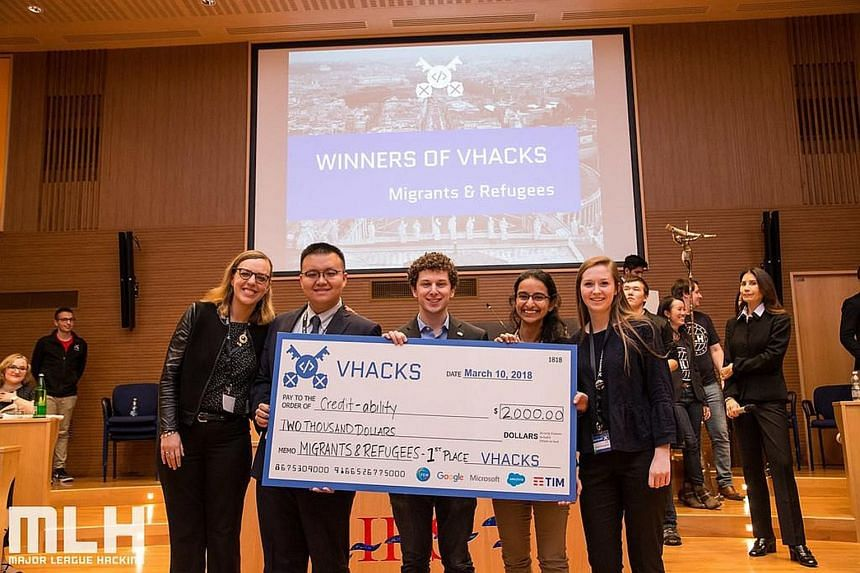 Ms Rushika Shekhar (second from right) and her team members (from left), Ms Lucy Obus, Mr Yanchen Wang, Mr Jake Glass and Ms Roisin McLoughlin at the VHacks hackathon in Vatican City. The team won with its credibility-scoring app that allows refugees