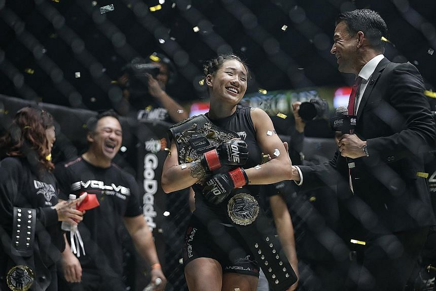 One's atomweight champion Angela Lee with her belt after defeating Istela Nunes last May. Lee will defend her title against Japan's Mei Yamaguchi on May 18.