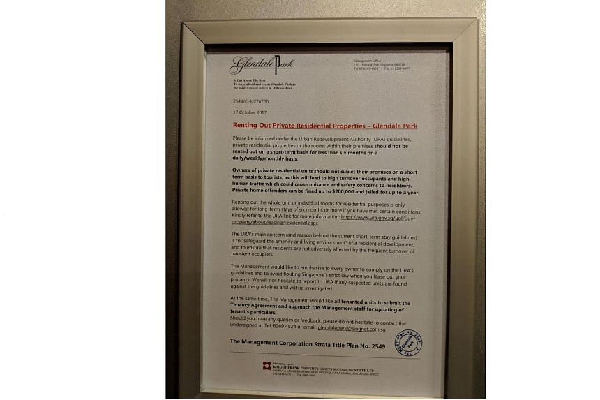 A notice put up in a condominium in Singapore warns against residents subletting their homes on a short-term basis.