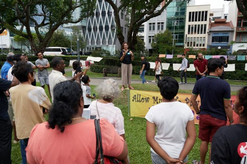 Organised by art producer Lin Shiyun, a peaceful protest against rules on the playing of music during the annual Thaipusam festival was held at Hong Lim Park and drew close to 50 people.