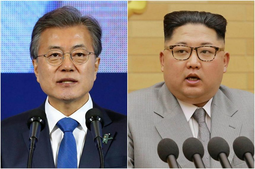 South Korean officials were set to convene their first meeting at the presidential Blue House to prepare for a summit between President Moon Jae In (left) and North Korean leader Kim Jong Un late next month.