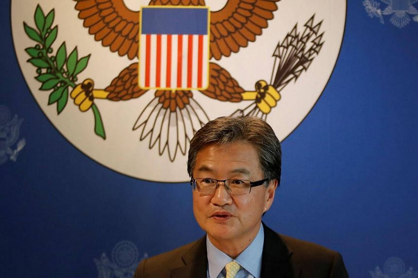 A file photo of former US Special Representative for North Korea Policy Joseph Yun speaking to the media in Bangkok, Thailand, on Dec 15, 2017.
