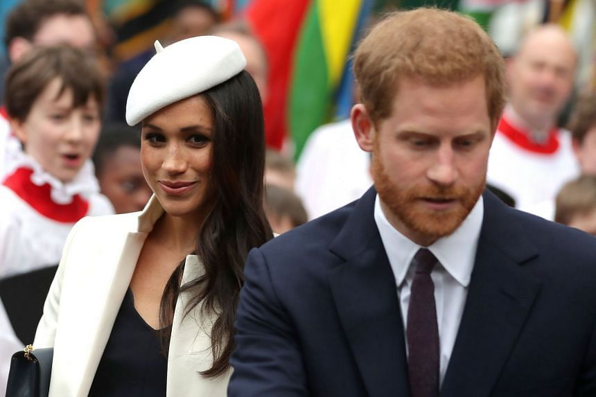 Meghan and Harry attending a Commonwealth Day Service at Westminster Abbey in central London.