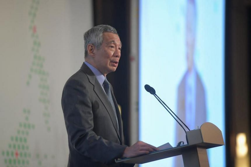 Singapore's Prime Minister Lee Hsien Loong delivering his lecture at ISEAS 50th anniversary at Orchard Hotel on March 13, 2018.
