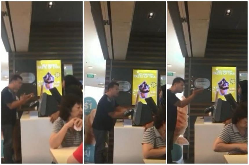A man, apparently upset over being asked to make payment before he finished his order, railed at a McDonald's employees while buying ice cream at the Hougang Mall outlet.