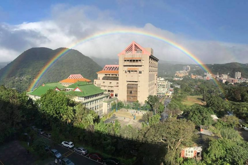 The rainbow was recorded on Nov 30, 2017, by professors at the Chinese Culture University in Taiwan's Shilin District.