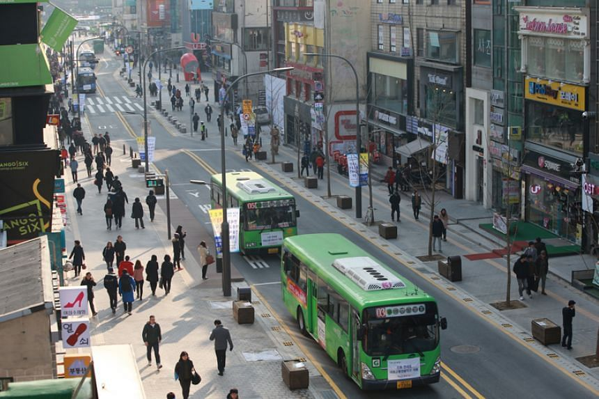 Seoul's Yonsei-ro, which was transformed from a congested road into a pleasant transit mall for pedestrians and public transport.