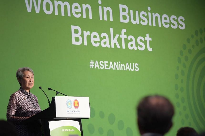 Temasek Holdings chief executive officer Ho Ching speaking at the Women in Business breakfast at the summi, on March 16, 2018.