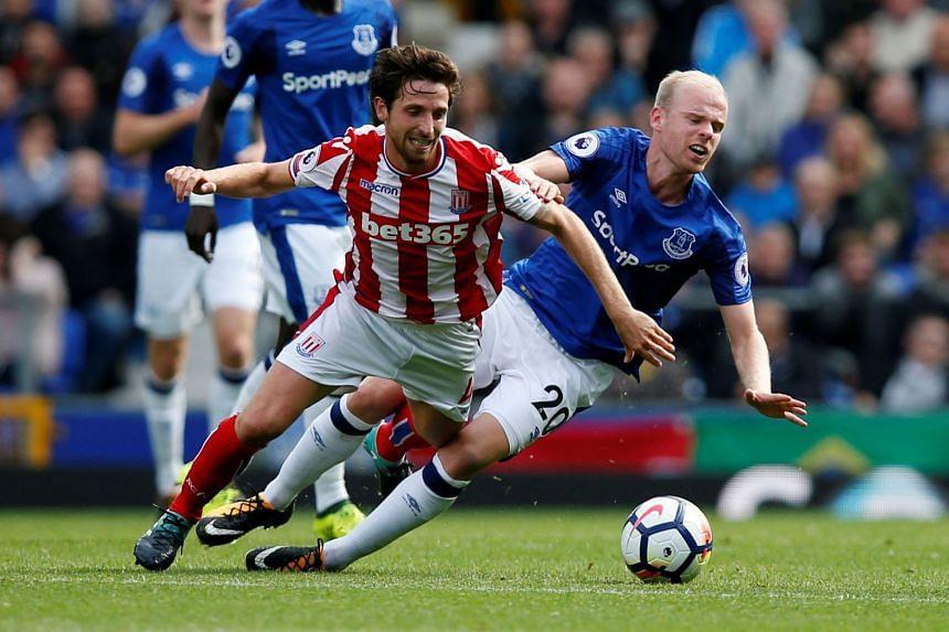 Everton's Davy Klaassen in action with Stoke City's Joe Allen.