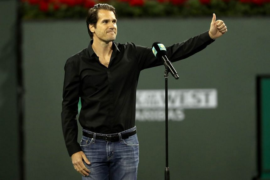Tommy Haas announces his retirement at the Indian Wells Tennis Garden on March 15, 2018.