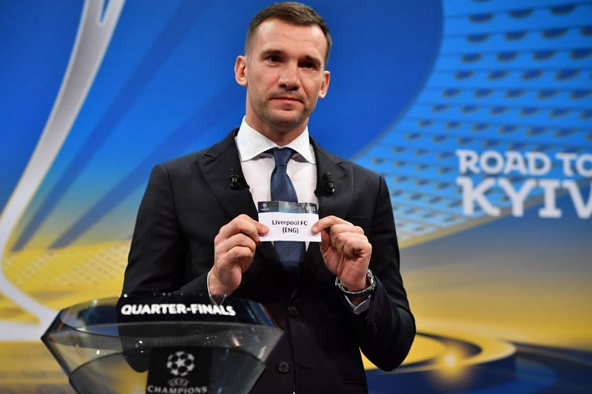 Former Ukrainian football player Andriy Shevchenko shows the slip of Liverpool during the draw for the quarter-finals round of the Champions League at Uefa headquarters in Nyon on March 16, 2018.