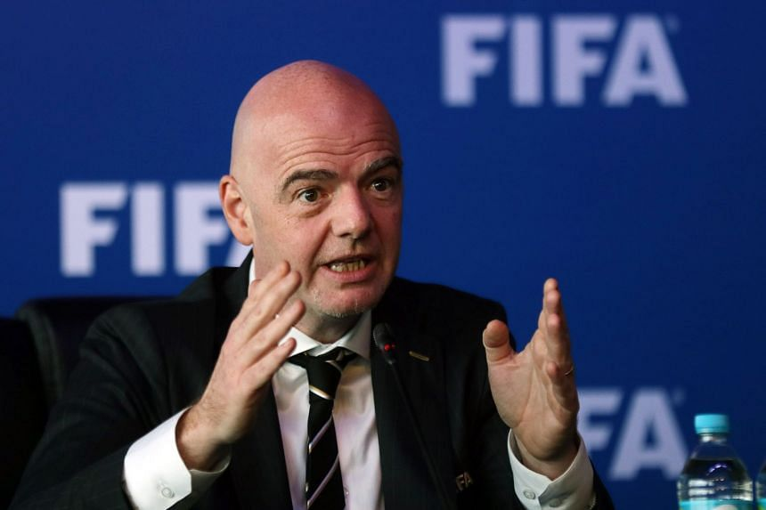Fifa's Infantino speaking to the media in Bogota, Colombia, March 16, 2018.
