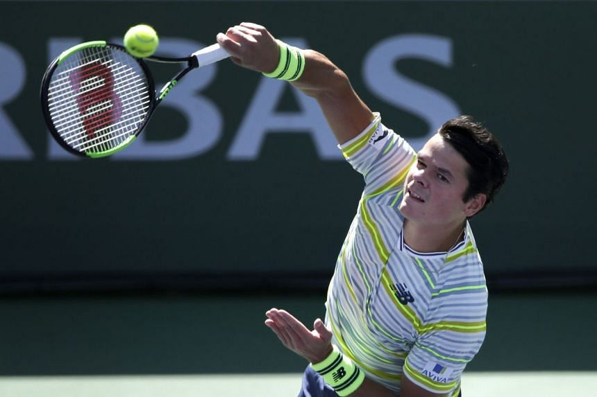 Raonic in action against Sam Querrey of the US.