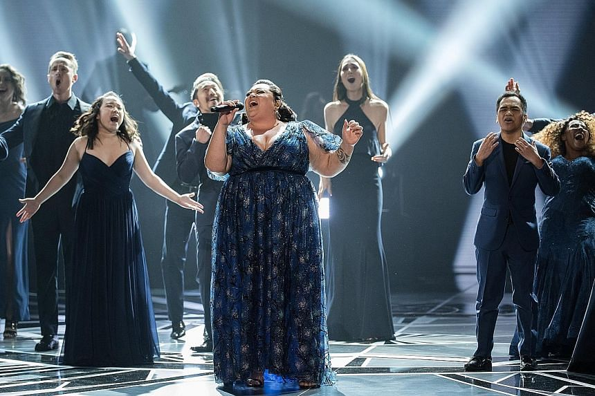 Keala Settle performing This Is Me during the 90th annual Academy Awards ceremony at the Dolby Theatre in Hollywood on March 4.