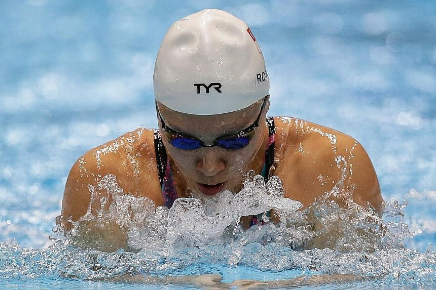 Roanne Ho on her way to clocking 31.32sec in the 50m breaststroke final at the OCBC Aquatic Centre yesterday, just 0.03 off her national mark set at last year's SEA Games.