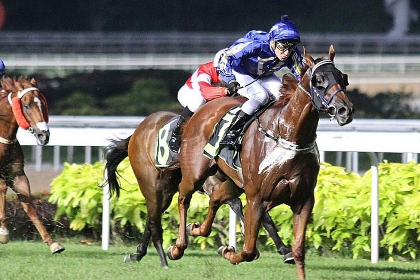 The Lee Freedman-trained Eastiger making all the running in Race 2 at Kranji last night.