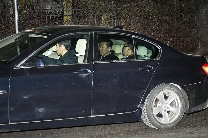 Foreign Minister Ri Yong Ho and his delegation arriving at the North Korean embassy in Sweden, which is a possible venue for the meeting between US President Donald Trump and North Korean leader Kim Jong Un.