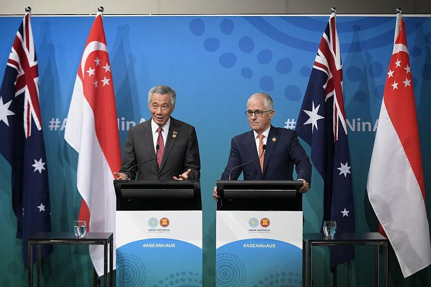 Singapore Prime Minister Lee Hsien Loong (left) and Australian counterpart Malcolm Turnbull highlighted Asean and Australia's shared interest in deepening economic integration.
