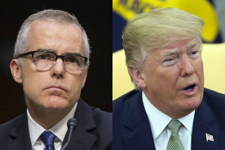 All available evidence suggests US President Trump (right) wanted former Deputy Director of the FBI Andrew McCabe to be fired.