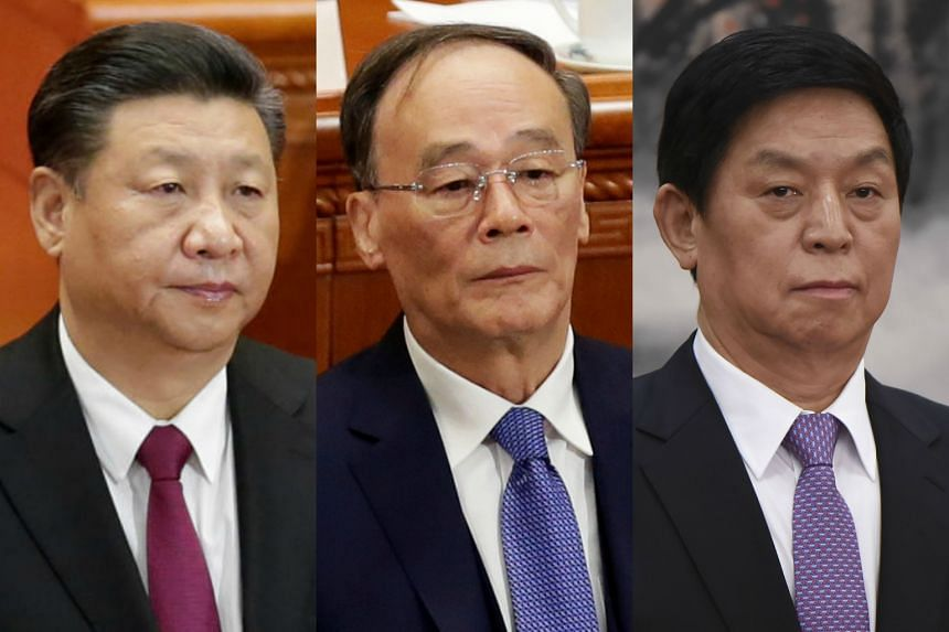Chinese President Xi Jinping (left) was elected to a second term with 100 per cent of the vote, while his political allies Wang Qishan (left) and Li Zhanshu were elected Vice-President and chairman of the National People's Congress.