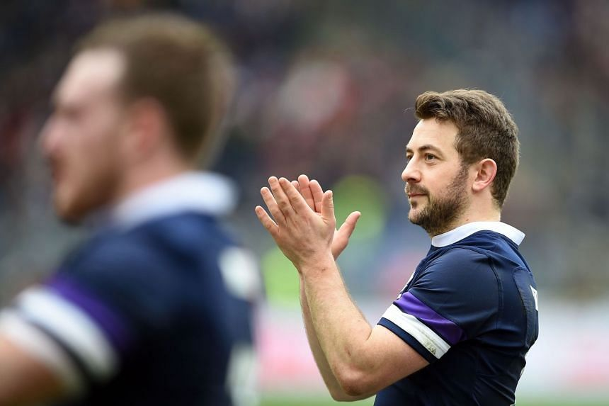 Scotland's Greig Laidlaw celebrates at the end of the match.