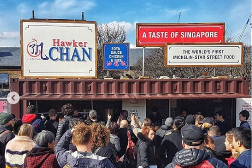 Hundreds of people in London (above) waited patiently as Singapore's Hawker Chan served his signature chicken rice at pop-up food market Kerb.