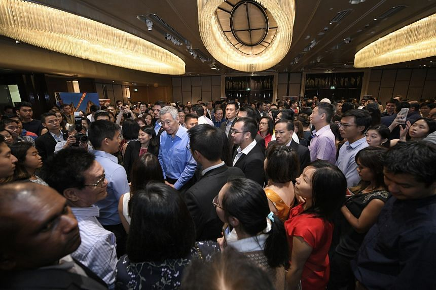 Prime Minister Lee Hsien Loong met overseas Singaporeans at the Shangri-La Hotel in Sydney, on March 17, 2018.