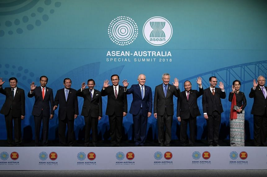 Asean leaders take a family photo with Australian Prime Minister Malcolm Turnbull at the official welcoming ceremony, on March 17, 2018.