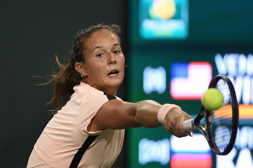 Daria Kasatkina hits a backhand during her semifinals match against Venus Williams, on March 16, 2018.