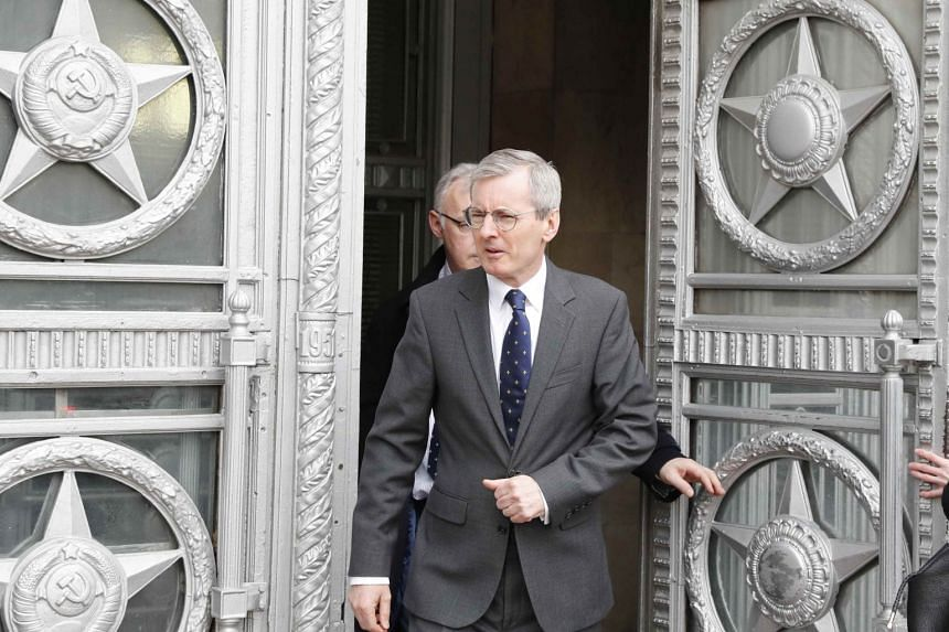 British Ambassador to Russia Laurie Bristow leaves the Russian Foreign Ministry in Moscow, on March 14, 2018.