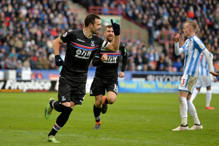 Crystal Palace's Luka Milivojevic celebrates scoring their second goal from the penalty spot.