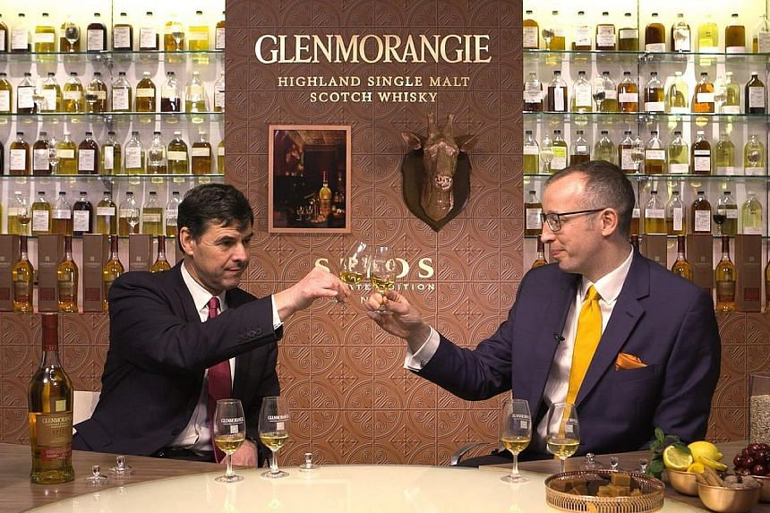 Dr Bill Lumsden (left), director of distilling and whisky creation, and Mr Brendan McCarron, head of maturing whisky stock, introduced the Glenmorangie Spios at a live simulcast.