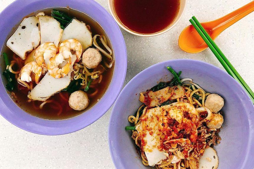 Min Nan Pork Ribs Prawn Noodle gives the option of wholegrain noodles in its prawn noodles.
