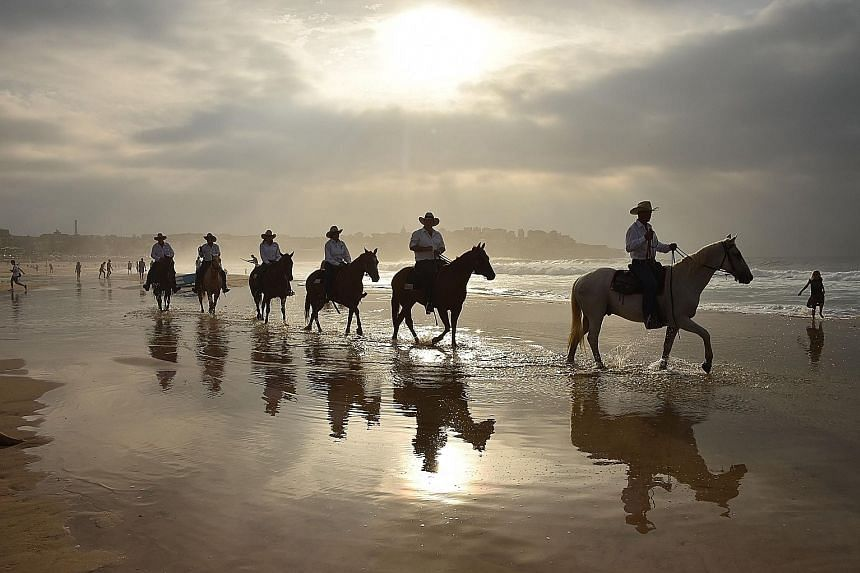 Drovers on horseback riding across Bondi Beach in Sydney yesterday. They travelled thousands of kilometres with 40 cows from the Australian outback to illustrate the struggle people living in rural and remote areas have in accessing health services.