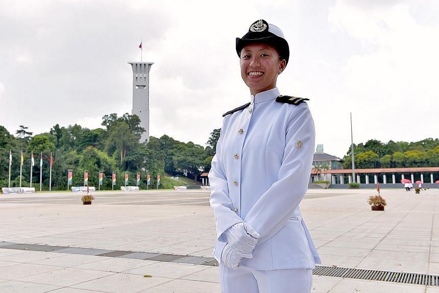 Lt Teh May Yong was one of eight female graduates commissioned as full officers yesterday.