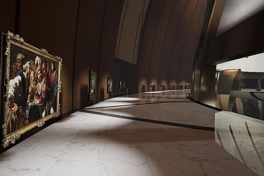 A rendering provided by the Kremer Collection showing how Matthias Stom's Christ Chasing The Moneychangers From Temple would appear in the virtual Kremer Museum. Collectors George and Ilone Kremer are rolling out a mobile app that will allow people t