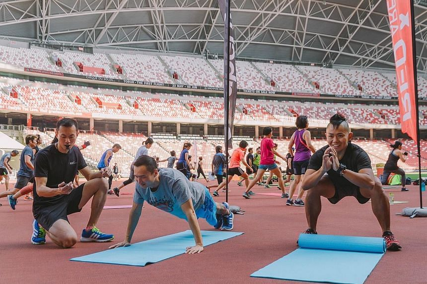 Above: The speed station at the Red-X Games includes a 2x20m shuttle run, a 2.4km run and a 20m sprint. Below: At the endurance station, participants will do sit-ups, push-ups and squats for two minutes per exercise.
