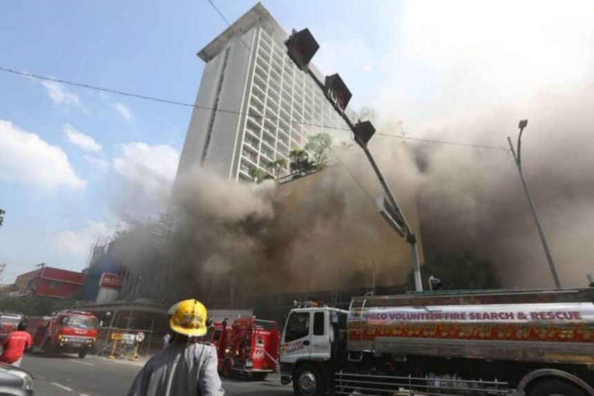 About 20 people were reportedly trapped in the Manila Pavilion Hotel.