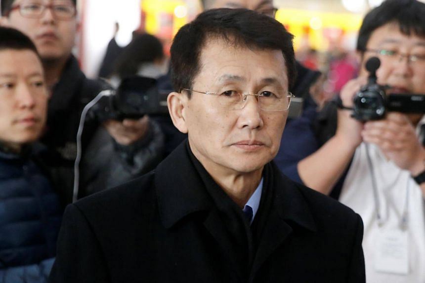 North Korean diplomat Choe Kang Il at Capital International Airport to check in to a flight to Helsinki in Beijing, China on March 18, 2018.