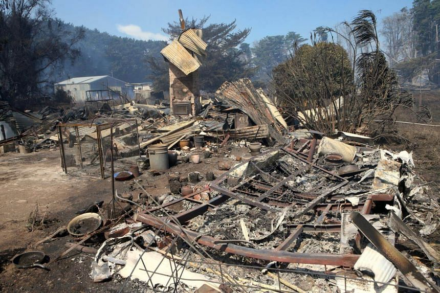 A house destroyed by a bushfire near the town of Cobden, south west of Melbourne, on March 18, 2018.