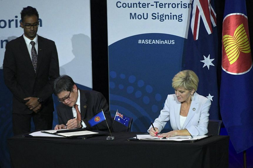 The counter-terrorism Memorandum of Understanding signing ceremony between Australian minister foreign affairs, Julie Bishop and Asean Secretary-General Lim Jock Hoi at the Asean-Australia Special Summit in Sydney, on March 17, 2018.
