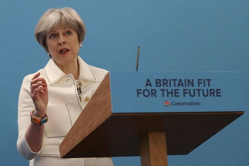 Britain's Prime Minister Theresa May speaks at the Conservative Party's Spring Forum in central London, Britain on March 17, 2018.