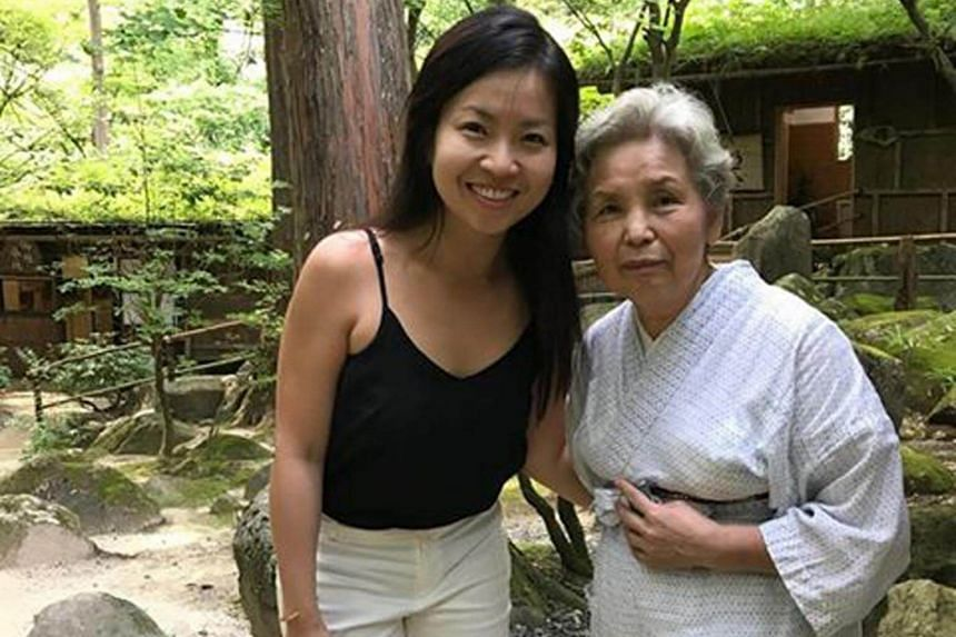 Mandy Tay (left) with the beautiful old woman in a white kimono she met while on a visit to Japan's Tottori.